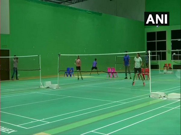 Players practicing at the badminton court while following all the precautions