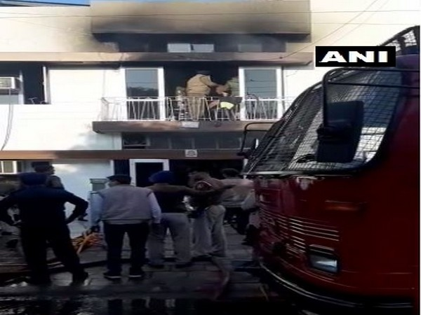 A view of the building where fire broke out in Chandigarh on Saturday. Photo/ANI