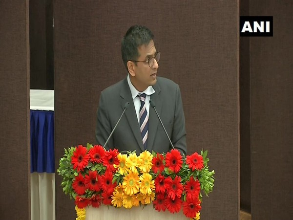 Justice DY Chandrachud speaking at a lecture in Ahmedabad, Gujarat on Saturday. Photo/ANI