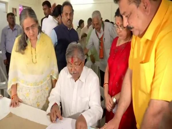 Maharashtra BJP President Chandrakant Patil filed his nomination from Kothrud seat in Pune on Thursday. Photo/ANI