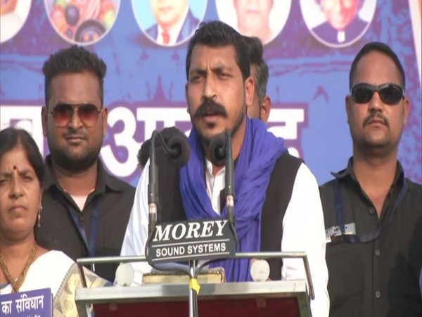 Bhim Army chief Chandrashekhar Azad addressing a rally in Nagpur on Saturday. Photo/ANI