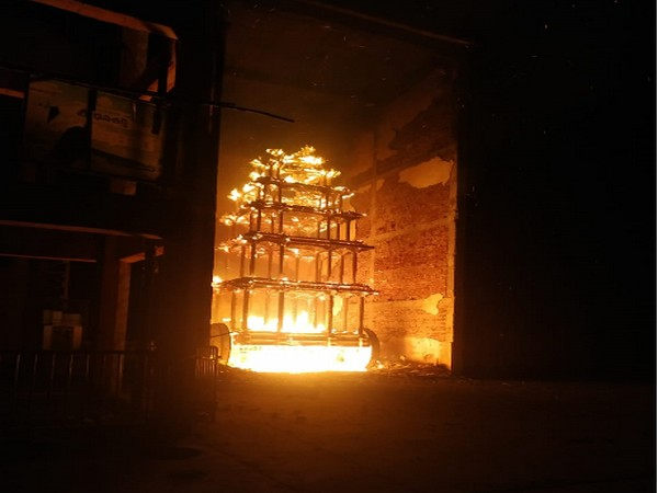 A chariot caught fire at Sri Lakshmi Narasimha Swamy temple in East Godavari district on Sunday. (Photo/ANI)