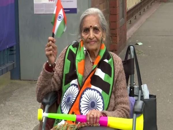 Indian fan Charu Lata Patel at the Edgbaston stadium on Tuesday. (Photo/ ANI)