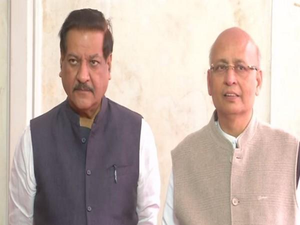 Congress leader Abhishek Manu Singhvi and Prithviraj Chavan speaking to reporters in New Delhi on Monday. (Photo/ANI)