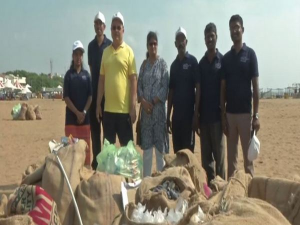 A cleanup activity was held at Edward Elliot's beach on World Clean Up Day in Chennai [Photo/ANI]