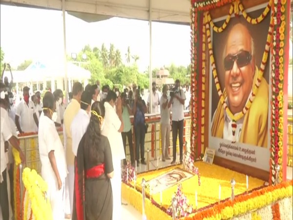 DMK President MK Stalin paid tribute to former CM M Karunanidhi on his second death anniversary on Friday. (Photo/ANI)