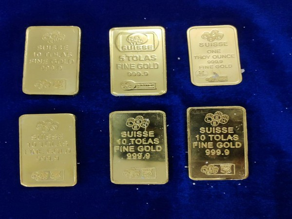 Gold bars recovered from the arrested person. Photo/ANI