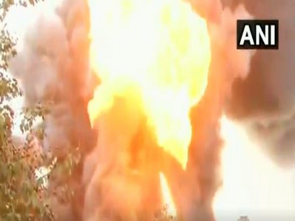 Tamil Nadu: Fire breaks out at an oil warehouse in Madhavaram area in Chennai.
