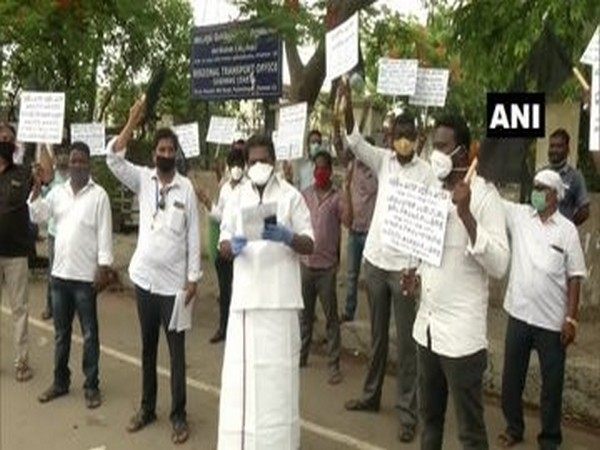 Tamil Nadu Tailors Association stage protest against road tax in Chennai on Tuesday. Photo/ANI