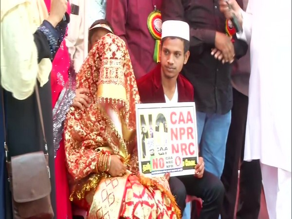 The couple which got married at the protest site in Old Washermanpet area in Chennai on Monday. Photo/ANI