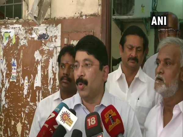 DMK leader MP Dayanidhi Maran talking to reporters in Chennai on Sunday. Photo/ANI