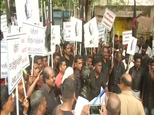 Protests in Chennai over Vinayak procession. Photo/ANI