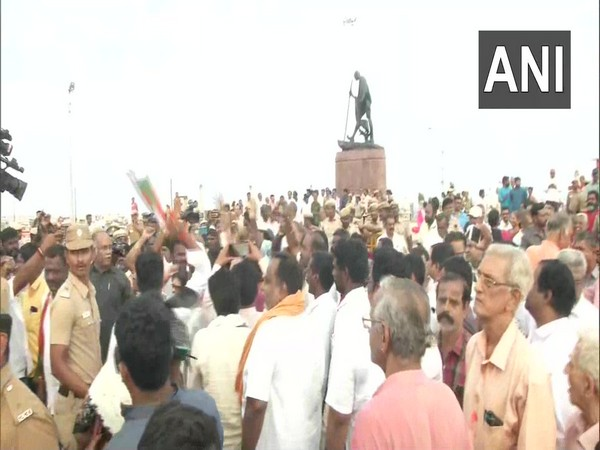 Visual from the protest carried out by BJP workers in Marina Beach in Chennai on Wednesday. Photo/ANI