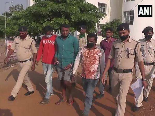 Accused in police custody for inflicting burns on a toddler in Chhattisgarh on Saturday. Photo/ANI