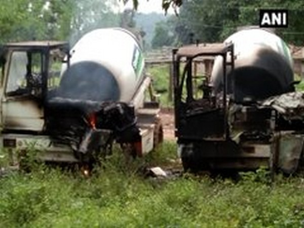 Naxals torch five vehicles engaged in road construction work in Chhattisgarh. Photo/ANI