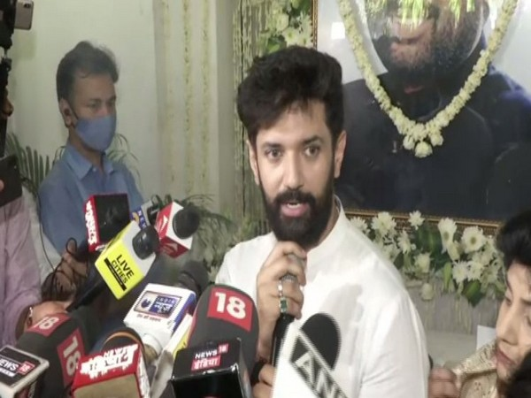 Chirag Paswan speaking to media during book launch title 'Paswan', on the occasion of Ram Vilas Paswan's birth anniversary. (Photo/ANI)
