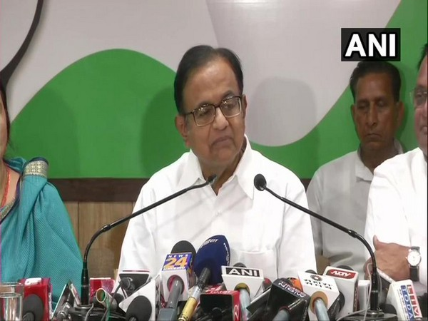 Congress leader P Chidambaram while addressing a press conference in Jaipur on Saturday. Photo/ANI
