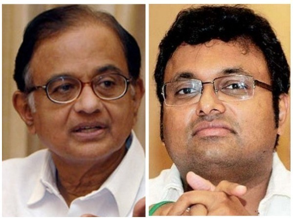Former Finance Minister P Chidambaram and his son Karti Chidambaram. Photo/ANI