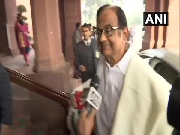 P Chidambaram reaches Parliament