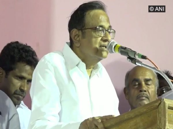 Former Finance Minister P Chidambaram speaking at a election rally in Sivaganga, Tamil Nadu on Sunday.