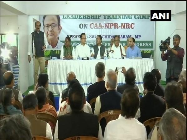 Senior Congress leader P Chidambaram at the leadership training camp in Kolkata on Saturday. photo/ANI