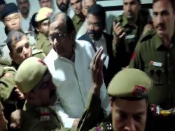P Chidambaram being escorted out of the court to Tihar jail on Wednesday (Photo/ANI)