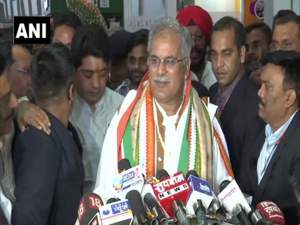 Chhattisgarh Chief Minister Bhupesh Baghel talking to reporters in Raipur on Saturday.