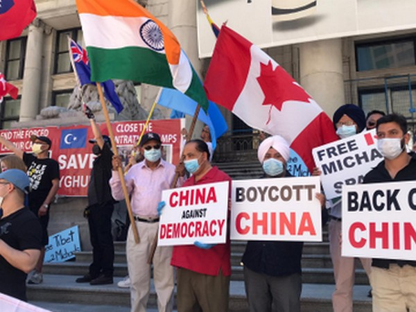Protests outside Chinese Consulate in Vancouver on July 26