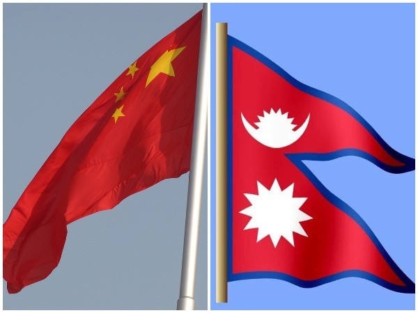 Chinese and Nepali flags