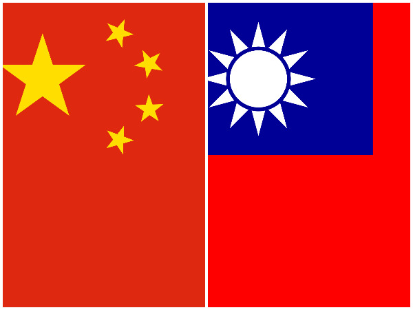 Taiwan and Chinese flags