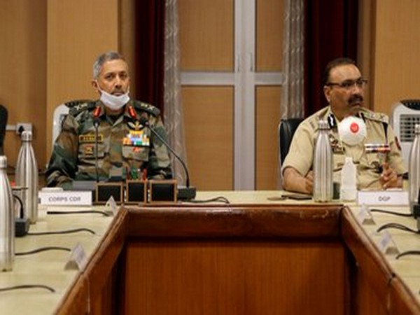 Chinar Corps Commander Lt Gen BS Raju and J-K DGP Dilbag Singh during the Core Group meeting in Srinagar on Saturday. Photo/ANI