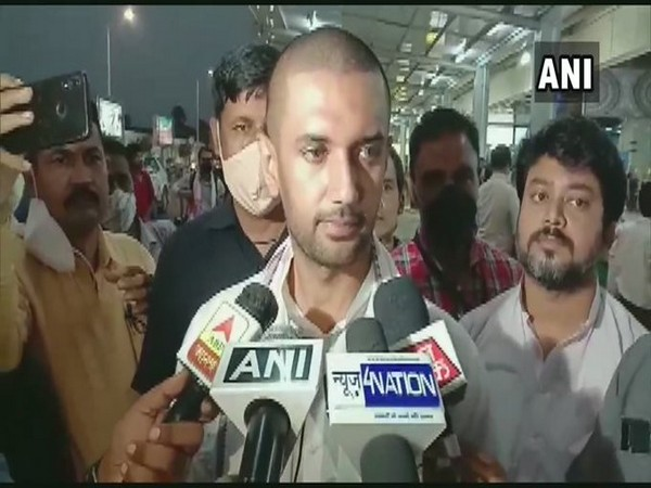 LJP chief Chirag Paswan talking to reporters on Monday. Photo/ANI