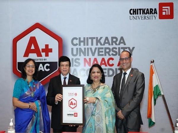 Dr. Ashok K Chitkara, Chancellor, Dr. Madhu Chitkara Pro Chancellor, showing the NAAC A+ Accreditation Certificate received by the Chitkara University