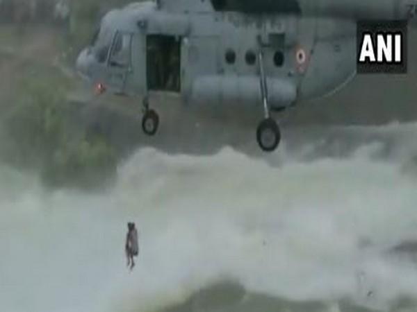 IAF rescuing a man at Khutaghat Dam near Chhattisgarh's Bilaspur on Monday.