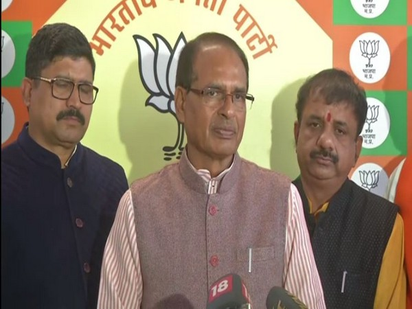 Shivraj Singh Chouhan speaking to reporters on Delhi Assembly election.