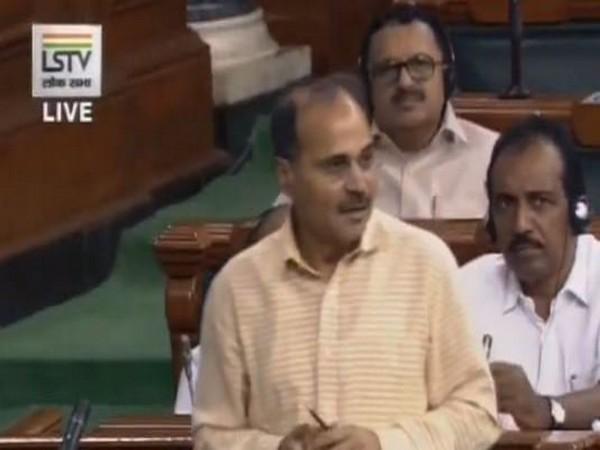 Congress leader Adhir Ranjan Chowdhury while speaking in the Lok Sabh against Kiran Bedi on Thursday. Photo/ANI