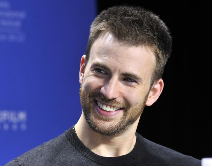 "Chris Evans during a news conference for the film ""The Iceman"""