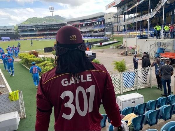 West Indies batsman Chris Gayle wearing 301 number jersey on Wednesday. (Photo/ Windies Cricket)