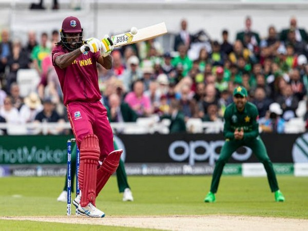 West Indies batsman Chris Gayle playing a shot during World Cup clash against Pakistan on Friday. (Photo/ West Indies Twitter)