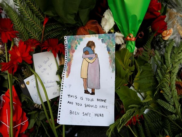 Flowers and messages after Christchurch attacks.