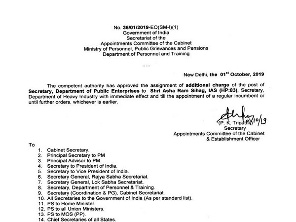 Circular issued by Appointments Committee of cabinet on Tuesday