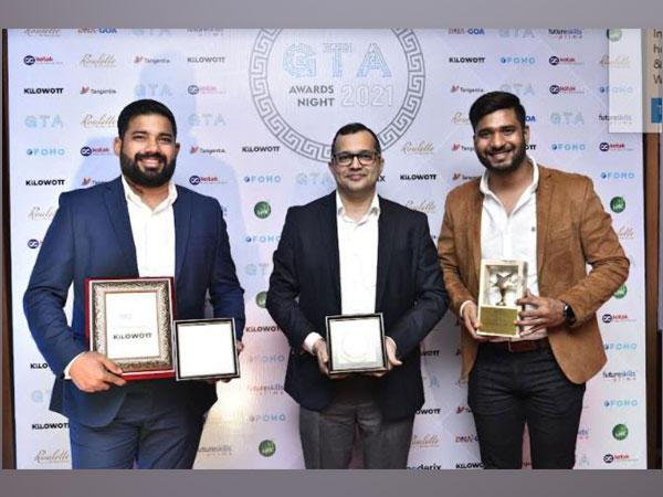 Co-founder Judah Fernandez, COO of Kilowott Nitish Raikar along with Co-founder Caleb Fernandez on receiving the awards from GTA
