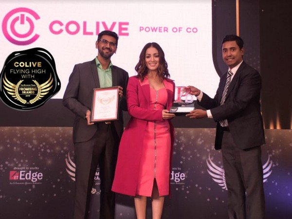Colive awarded the ET Promising Brand of the year, Bollywood actress Yami Gautam handing over the trophy to Arnab Karmakar, Head of Operations
