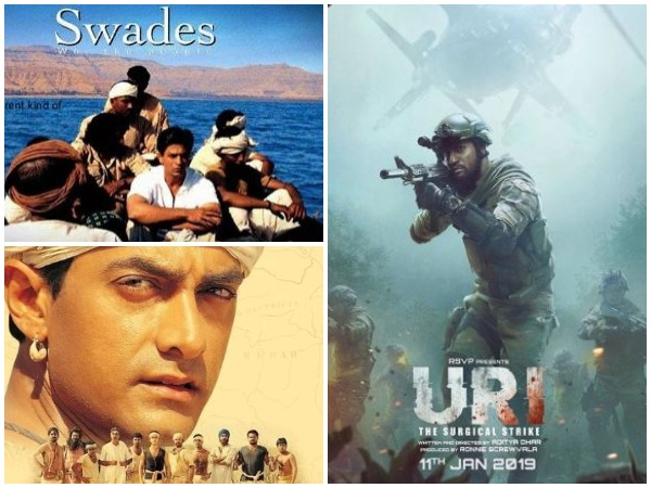 Posters of Swades, Uri: The Surgical Strike and Lagaan (clockwise)