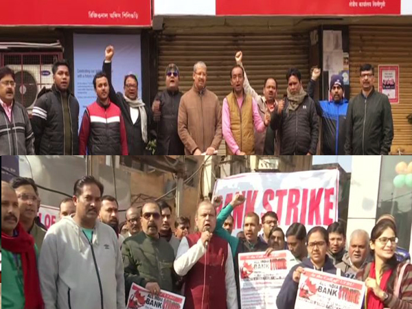 Bank employees participate in 2-day nationwide strike. Photo/ANI