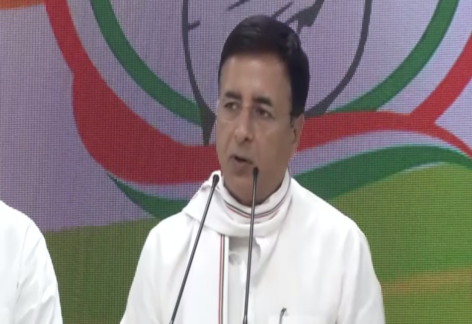 Congress National Spokesperson Randeep Singh Surjewala addressing a press conference on Friday. Photo/ANI