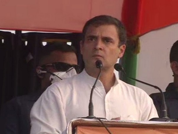 Congress leader Rahul Gandhi speaking at a public rally in Darbhanga, Patna on Wednesday.