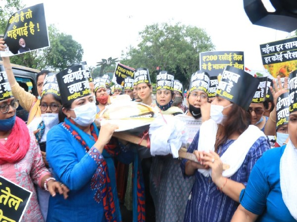 All India Mahila Congress protesting at Connaught Place on Friday (Photo/ANI)