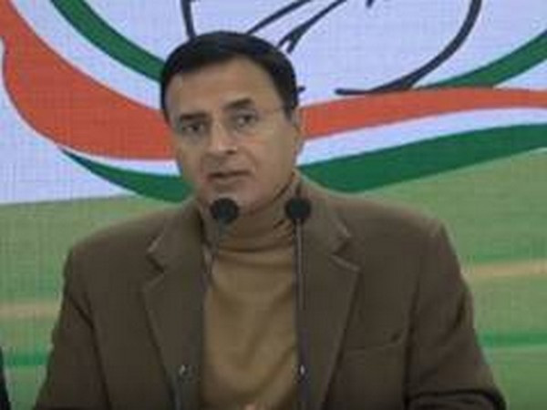 Congress leader Randeep Singh Surjewala addressing a press conference in New Delhi on Wednesday. (Photo/ANI)