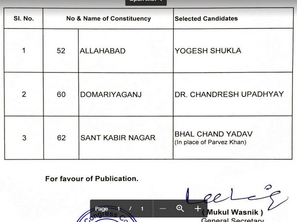 Congress party releases names of 3 candidates for Lok Sabha polls.